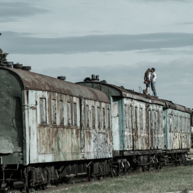 """""""On The Roof Of A Train"""" stock image"""
