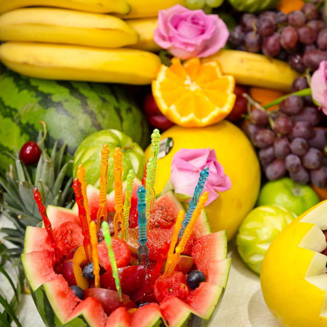 """Close fruit display"" stock image"