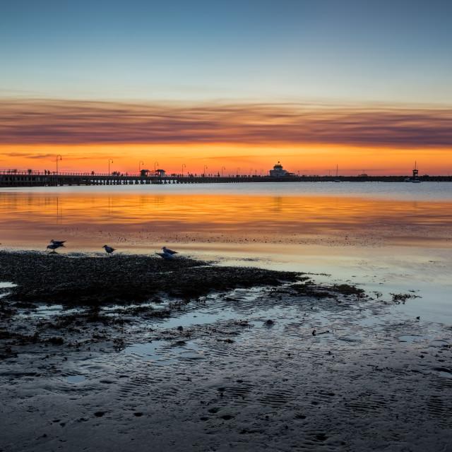 """Summer Sunset St Kilda Beach Melbourne"" stock image"