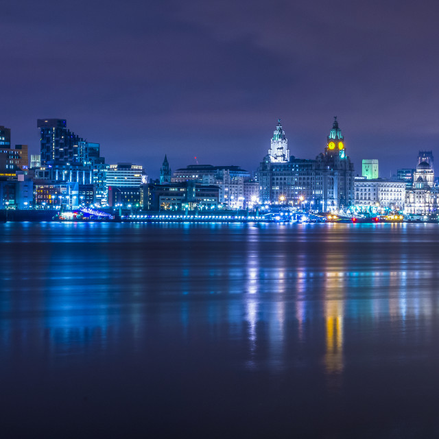 """Flat calm River Mersey"" stock image"
