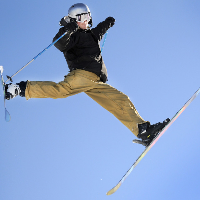 """jumping skiier"" stock image"