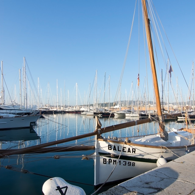 """Marina with boats and the word BALEAR"" stock image"