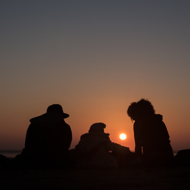 """Sunset Family"" stock image"
