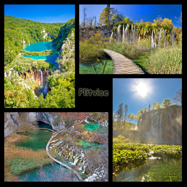 """Plitvice lakes national park collage"" stock image"