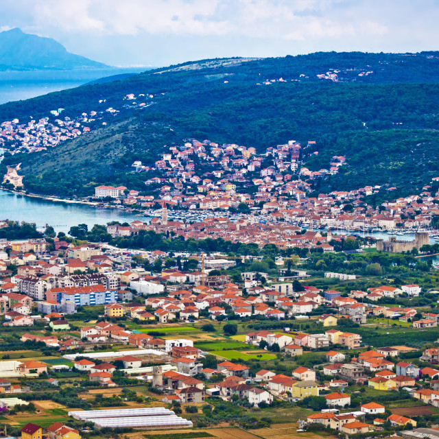 """Trogir and Ciovo island aerial view"" stock image"