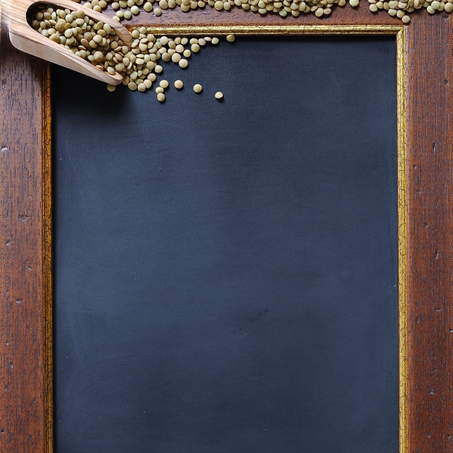 """Lentils and blackboard."" stock image"