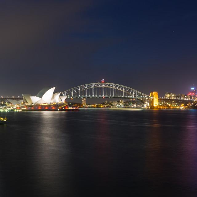 """Sydney Opera House and Harbor Bridge at Night"" stock image"