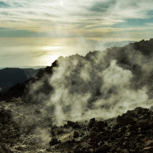 """Smoking crater of El Teide (Tenerife)"" stock image"