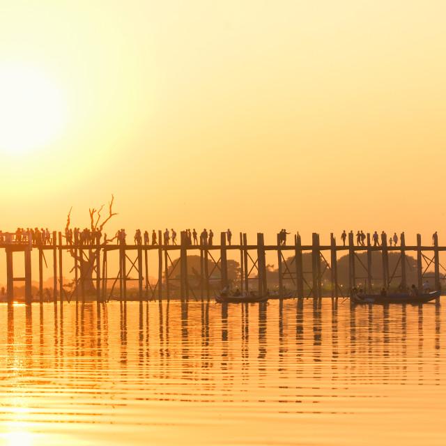 """U Bein Bridge at sunrise, Burma"" stock image"