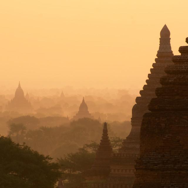 """""""Sunrise at Bagan, Myanmar"""" stock image"""