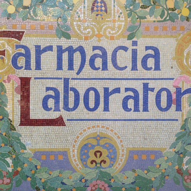 """Spanish Pharmacy laboratory signboard"" stock image"