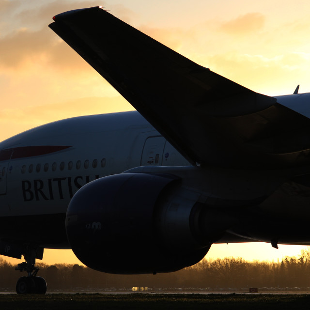 """British Airways at Sunrise"" stock image"
