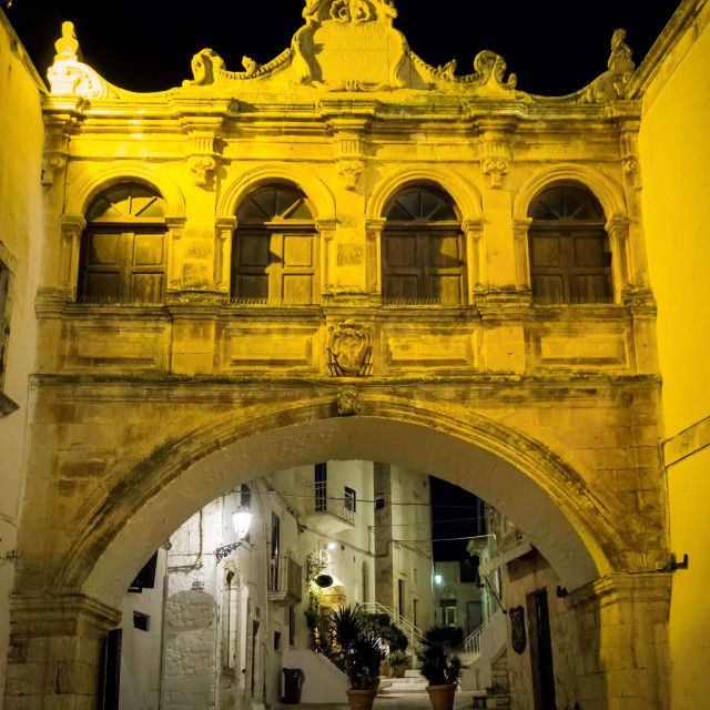"""""""Cathedral Square at night in Ostuni"""" stock image"""