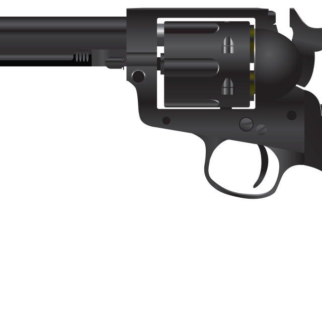 """""""Revolver with a cylindrical drum"""" stock image"""