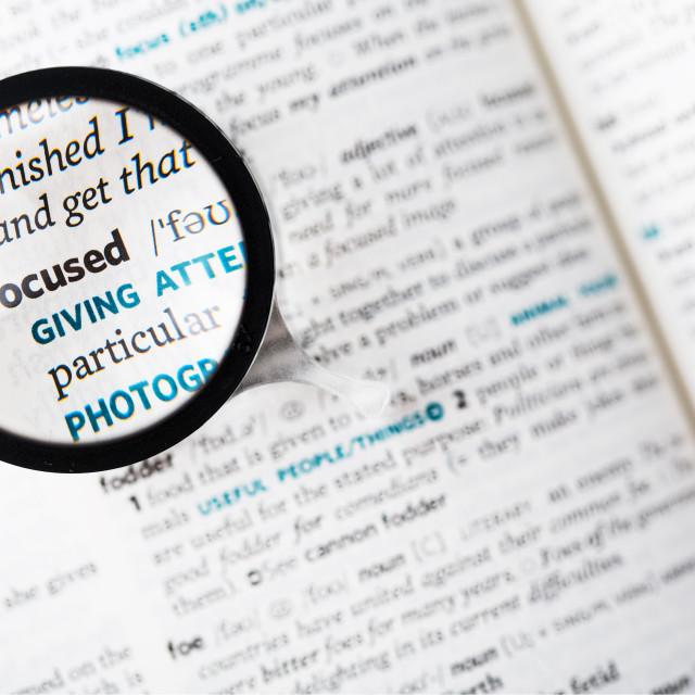 """""""Dictionary definition of the word focused and magnifying glass"""" stock image"""