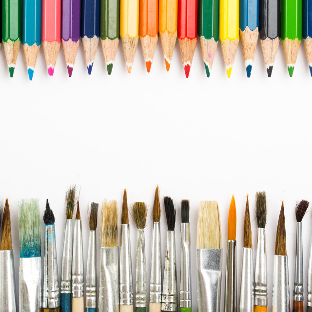 """Abstract background from color pencils and paintbrushes"" stock image"