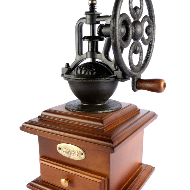 """""""old-fashioned coffee grinder isolated on white backgrounds."""" stock image"""