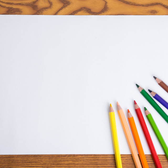 """white paper and color pencil"" stock image"