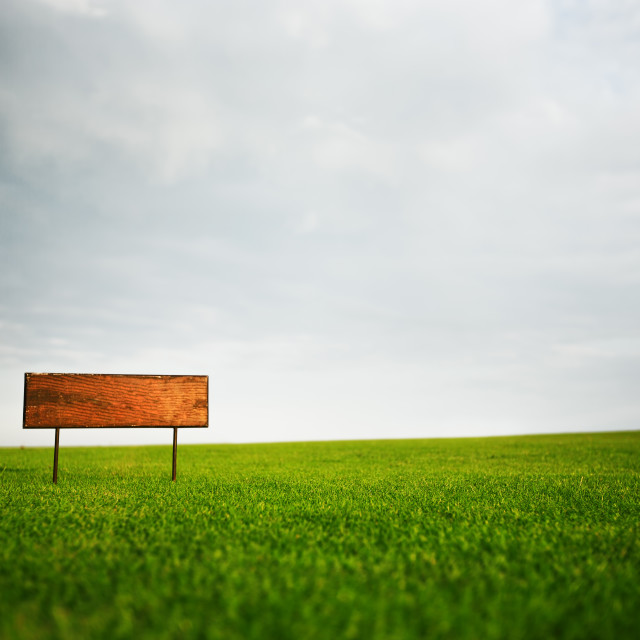 """""""Signboard in the field"""" stock image"""