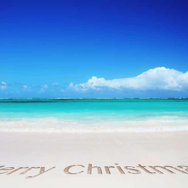 """""""Tropical beach and merry christmas text"""" stock image"""