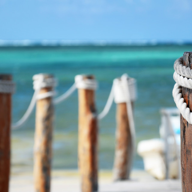 """""""Wooden pier and beach"""" stock image"""