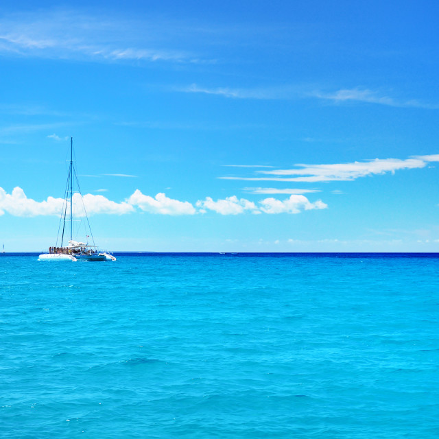 """""""Sailing party catamaran in the blue carribean sea and cloudscape"""" stock image"""