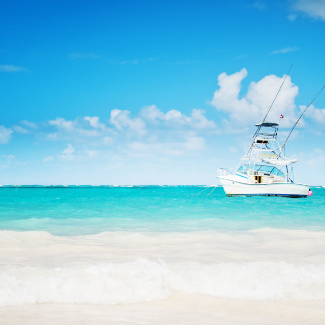 """Carribean sea and sailing yacht near the coastline of Punta Cana"" stock image"