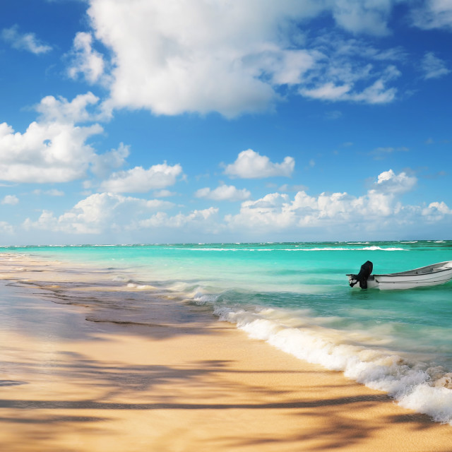 """""""Tropical beach and boat"""" stock image"""