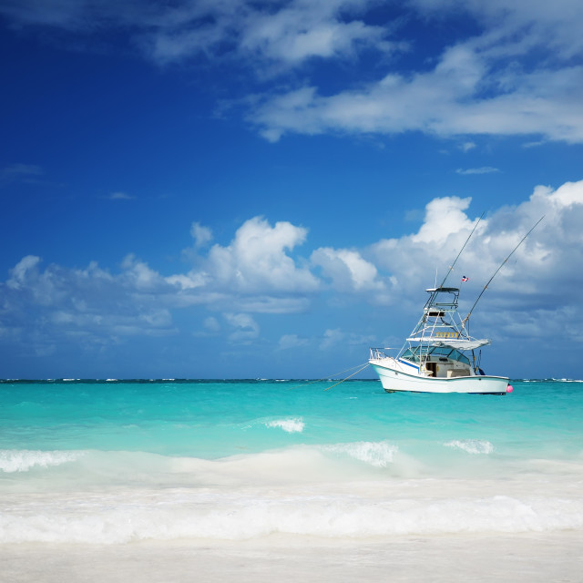 """Sailing yacht near beautiful tropical beach"" stock image"