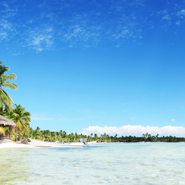 """""""Landscape of paradise tropical island beach with perfect sunny s"""" stock image"""