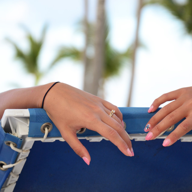 """""""Tourist in a deckchair on the beach"""" stock image"""