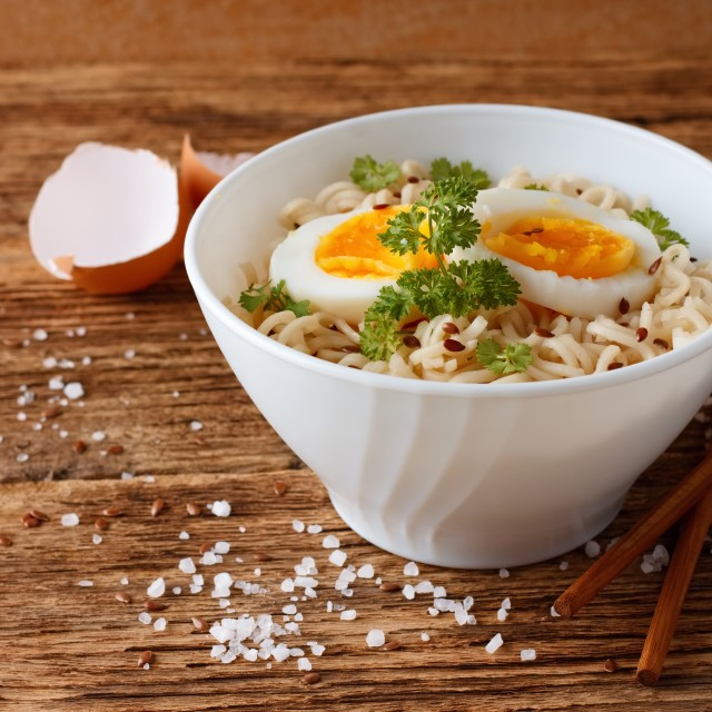 """Chinese soup in modern white bowl"" stock image"