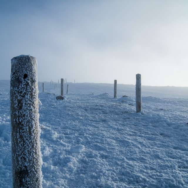 """A cold snowy Cairngorm Mountain path"" stock image"