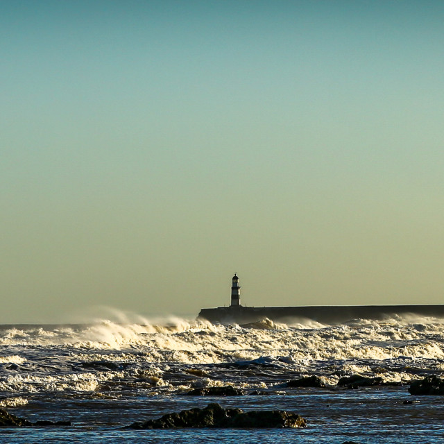 """Seaham Harbour pier with rough seas"" stock image"