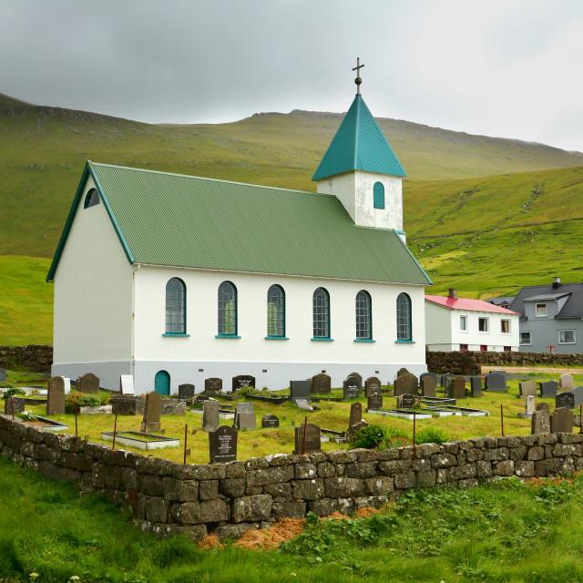 """Church at Gjogv"" stock image"