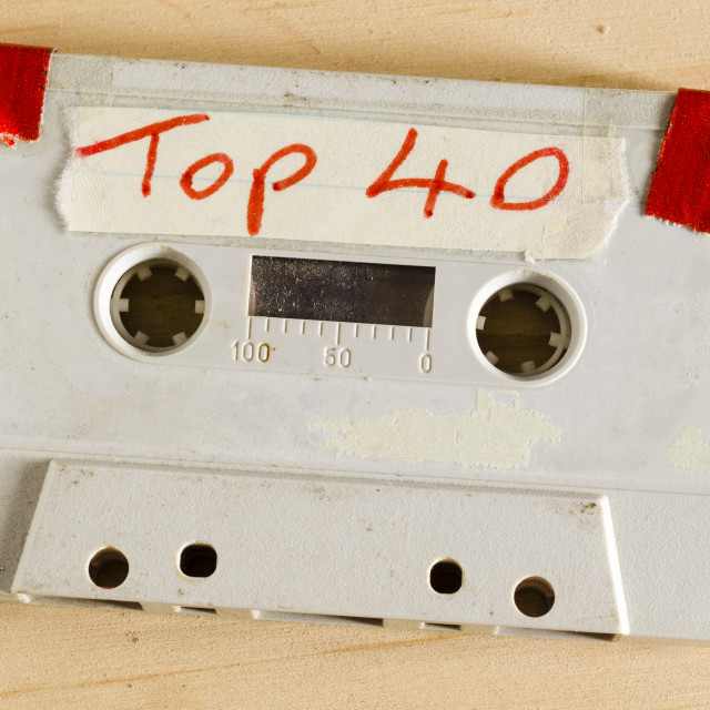 """Audio Cassette Tape containing songs recorded from the weekly Sunday Night Top 40 Chart Show"" stock image"