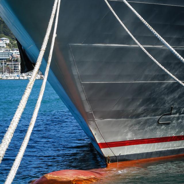 """""""Bulbous bow on a ship"""" stock image"""