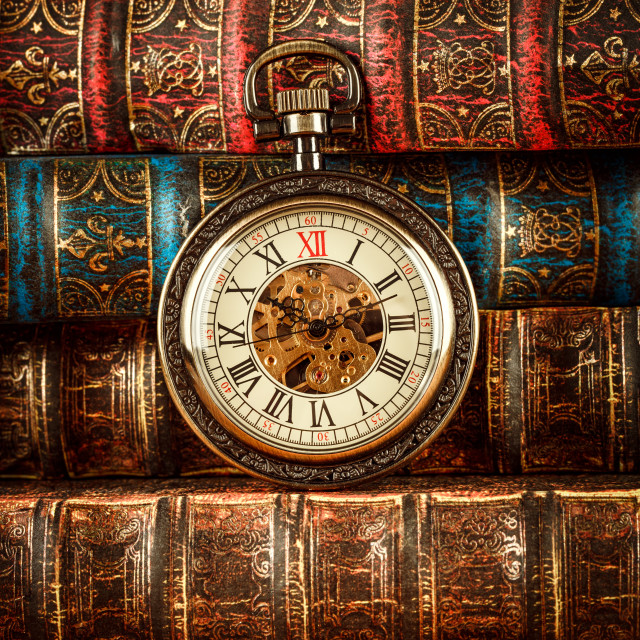 """""""Old Books and Vintage pocket watch"""" stock image"""