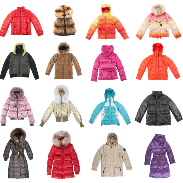 """Sixteen winter jackets"" stock image"