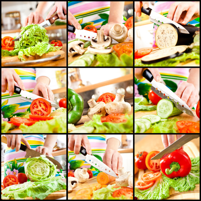 """Woman's hands cutting vegetables"" stock image"
