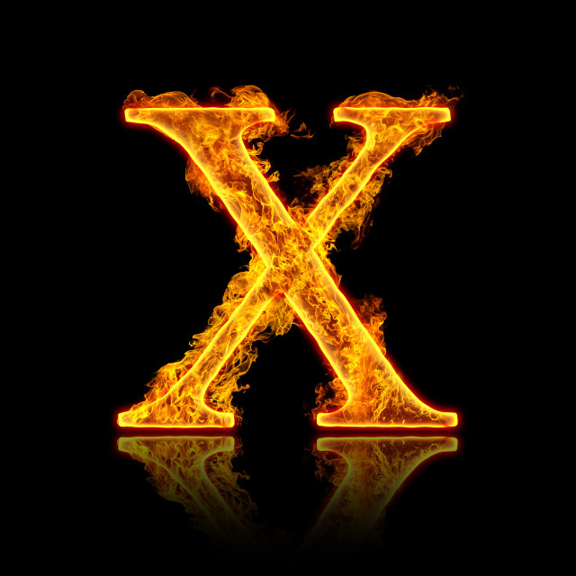 """Fire alphabet letter X"" stock image"