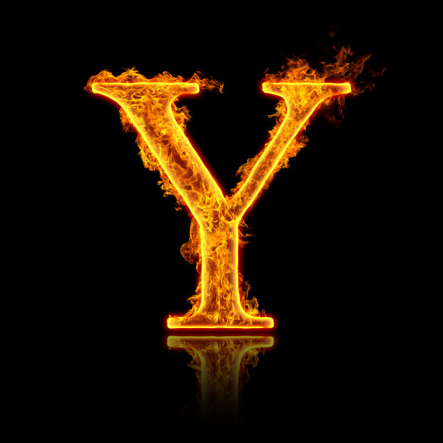 """Fire alphabet letter Y"" stock image"