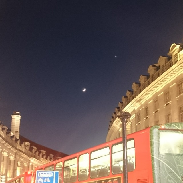 """Regents Street,London, by night"" stock image"