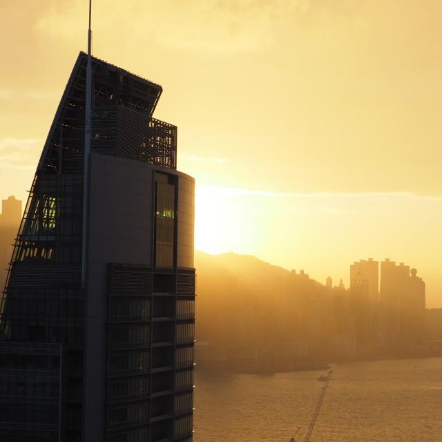 """HK sunset"" stock image"