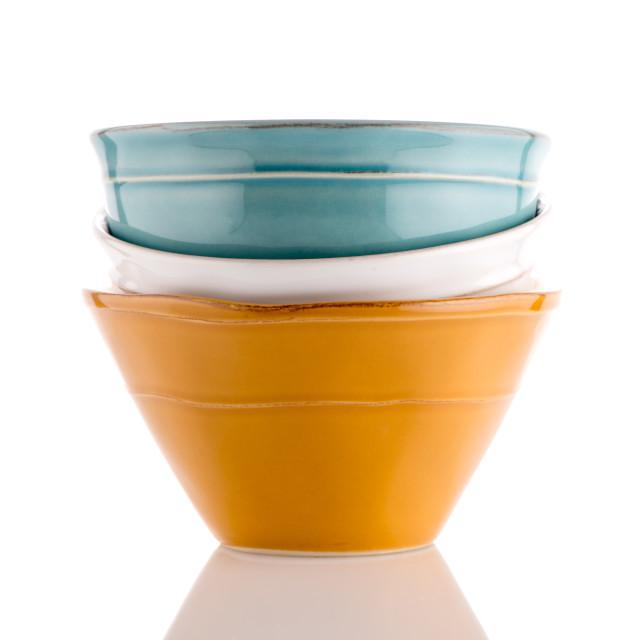 """Three colored bowls"" stock image"