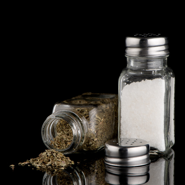 """Salt and oregano shakers"" stock image"