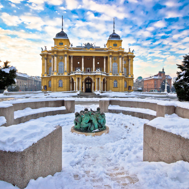 """""""Croatian national theater in Zagreb winter view"""" stock image"""