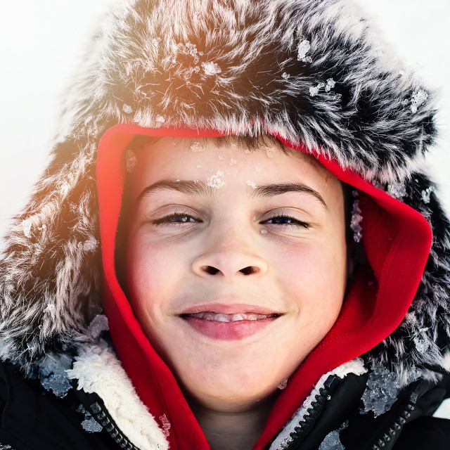 """""""Child on the snow"""" stock image"""