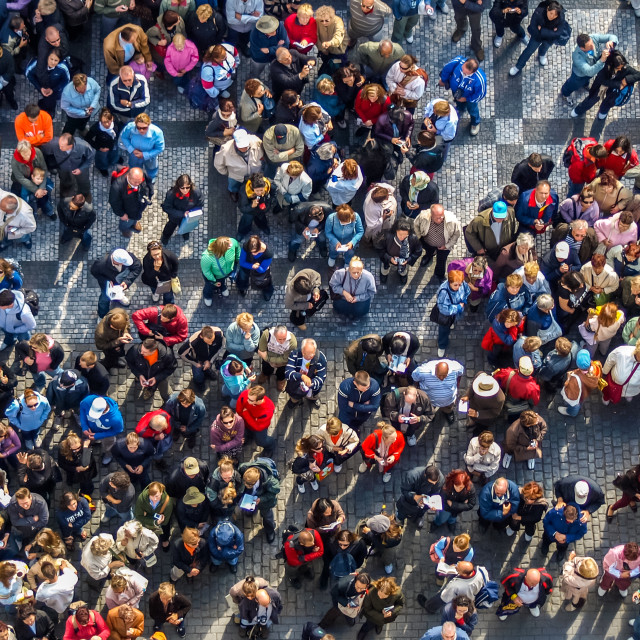 """crowded square in prag under orloj clock"" stock image"