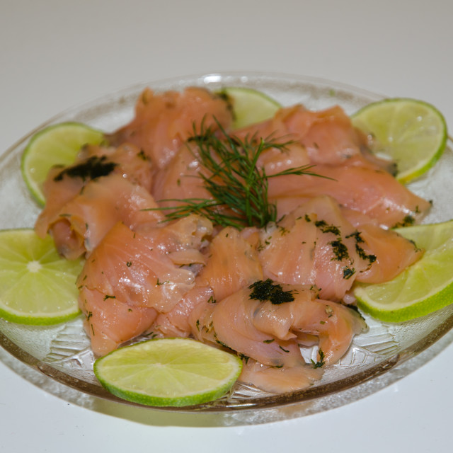 """Marinated salmon on a plate"" stock image"
